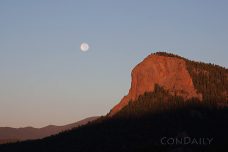 moon and lions head