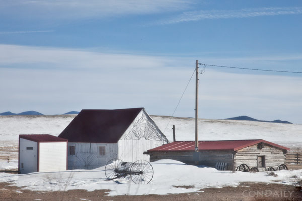 red and white ranch structures