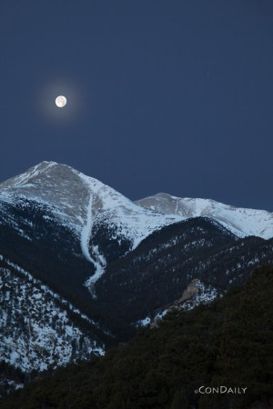 Mt. Princeton with Moon, Dec. 18, 2013